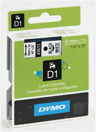 Tape DYMO D1 6mm sort på hvid