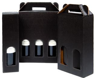 Vinlåda räfflad - 3 flaskor