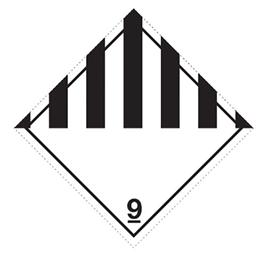 Etikett ADR 9 100x100mm øvrige farlige stoffer