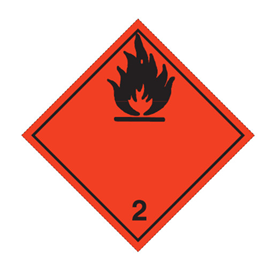 "Etiket ""ADR 2  brandfarlig gas"""
