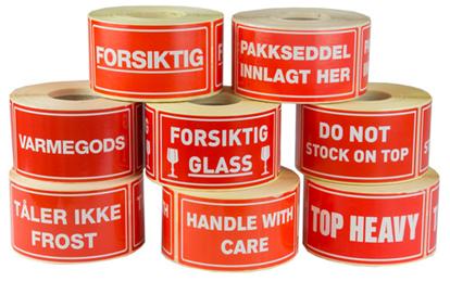 Etikett 55x110mm FORSIKTIG GLASS