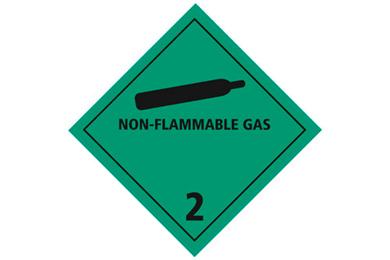 """Huomiotarra 100*100mm """"Non-flammable gas, lk. 2"""""""