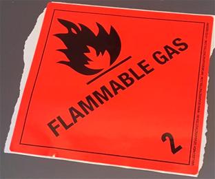 """Huomiotarra 100*100mm """"Flammable gas, luokka 2"""""""
