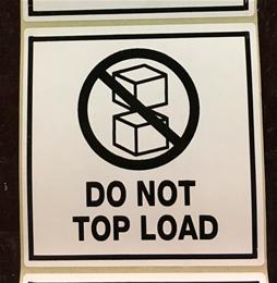 "Huomiotarra 100*100mm ""Do not top load"""
