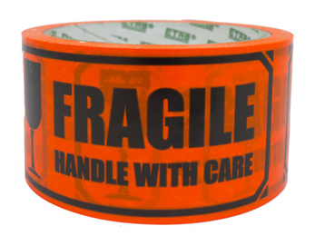 "Advarselsbånd ""Fragile/Handle with care"""