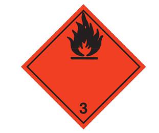 """Etikett """"ADR 3  brandfarlig vätska"""""""