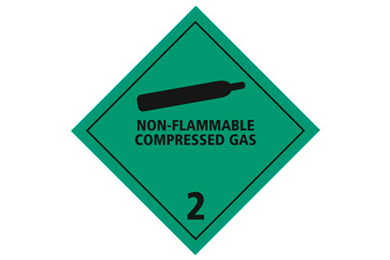"""Huomiotarra 100*100mm """"Non-flammable compressed gas"""""""