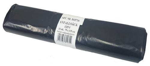 Avfallsekk 75x115cm Svart 60my 125L