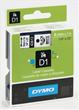 Tape DYMO D1 6mm svart på vit