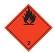 "Etikett ""ADR 2  brandfarlig gas"""