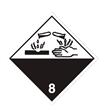 Etikett ADR 8 100x100mm etsende stoffer