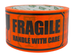 Varseltape 50mmx33m FRAGILE, HANDLE